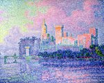 The Chateau des Papes, Avignon, 1900 (oil on canvas) Postcards, Greetings Cards, Art Prints, Canvas, Framed Pictures, T-shirts & Wall Art by Paul Signac