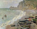 Etretat, beach and the Porte d'Amont, 1883 (oil on canvas) Wall Art & Canvas Prints by Eric Hains