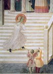 The Virgin Mary ascending the staircase at the Presentation of Mary in the Temple, 1433-34 (fresco) (detail) Wall Art & Canvas Prints by Giotto di Bondone