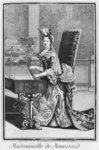 Mademoiselle de Mennetoud playing the harpsichord (engraving) Wall Art & Canvas Prints by English Photographer