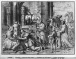 Life of Christ, Adoration of the Magi, preparatory study of tapestry cartoon for the Church Saint-Merri in Paris, c.1585-90 (pierre noire & wash & white highlights on paper) Fine Art Print by Andrea Casali