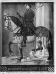 Equestrian portrait of King Francis I of France (w/c on vellum) Postcards, Greetings Cards, Art Prints, Canvas, Framed Pictures, T-shirts & Wall Art by Leonardo Da Vinci