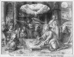 Life of Christ, Adoration of the shepherds, preparatory study of tapestry cartoon for the Church Saint-Merri in Paris, c.1585-90 (pierre noire & wash & white highlights on paper) Wall Art & Canvas Prints by Luca Giordano