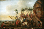 Stop at the inn Fine Art Print by Jean-Baptiste Joseph Pater