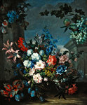 Flowers and fruit (oil on canvas) Wall Art & Canvas Prints by Jean-Baptiste Simeon Chardin