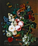 Bouquet of flowers on a marble table (oil on canvas) Postcards, Greetings Cards, Art Prints, Canvas, Framed Pictures, T-shirts & Wall Art by Johann Baptist Drechsler