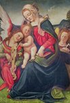 Virgin and Child and angel musicians (oil on wood) Wall Art & Canvas Prints by Jan van Eyck