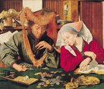 The Money Changer and his Wife, 1539 Postcards, Greetings Cards, Art Prints, Canvas, Framed Pictures, T-shirts & Wall Art by German School
