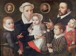 Portrait of a family: parents with their children and ancestors, 1577 (oil on panel) Wall Art & Canvas Prints by French School