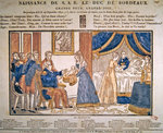 The birth of Henri Charles Ferdinand Marie Dieudonne de France, Duc de Bordeaux, Comte de Chambord on 29 September, 1820 (coloured wood engraving)