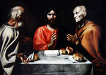 Supper at Emmaus, c.1610 (oil on canvas) Wall Art & Canvas Prints by Clive Uptton