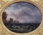 Shipwreck (oil on wood) Fine Art Print by Alexander Nasmyth