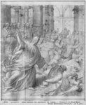 Life of Christ, Jesus chasing the merchants from the Temple, preparatory study of tapestry cartoon for the Church Saint-Merri in Paris, c.1585-90 (pierre noire & wash & white highlights on paper) Fine Art Print by French School