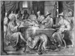 Life of Christ, the Meal at the House of Simon the Pharisee, preparatory study of tapestry cartoon for the Church Saint-Merri in Paris, c.1585-90 (pierre noire & wash & white highlights on paper) Wall Art & Canvas Prints by Peter Paul Rubens