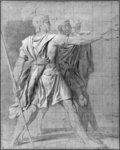 The three Horatii brothers, study for 'The Oath of the Horatii', 1785 (pencil on paper) Fine Art Print by Evelyn De Morgan