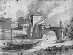 View of the Tiber near the bridge and the castle Sant'Angelo in Rome, c.1775-80 (grey wash & pierre noire on paper) Postcards, Greetings Cards, Art Prints, Canvas, Framed Pictures, T-shirts & Wall Art by Stanislas Victor Edouard Lepine