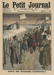 Foreigners coming out of Andrinople, front cover illustration from 'Le Petit Journal', supplement illustre, 2nd March 1913 (colour litho) Fine Art Print by Etienne Prosper Berne-Bellecour