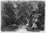 The Stream through the trees, 1880 (etching) Postcards, Greetings Cards, Art Prints, Canvas, Framed Pictures, T-shirts & Wall Art by Paul Cezanne