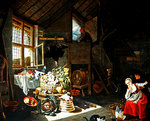 Interior of a farmhouse (oil on copper) Fine Art Print by Martin Schongauer