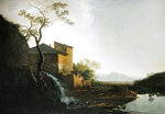 Landscape with Watermill (oil on wood) Fine Art Print by Jan Hackaert