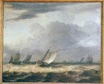 Boats in Stong Wind (oil on canvas) Fine Art Print by William Clarkson Stanfield