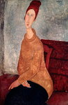 Jeanne Hebuterne in a Yellow Jumper, 1918-19 (oil on canvas) Wall Art & Canvas Prints by Amedeo Modigliani