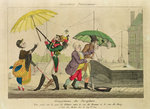 Disagreements over Umbrellas, from 'Caricatures Parisiennes' (colour litho) Postcards, Greetings Cards, Art Prints, Canvas, Framed Pictures, T-shirts & Wall Art by Henry William Bunbury