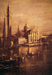 Church of San Giorgio and the Campanile, detail of The Basin of Saint Mark's Square, c.1774 (oil on canvas) (detail of 257874) Postcards, Greetings Cards, Art Prints, Canvas, Framed Pictures, T-shirts & Wall Art by Giovanni Antonio Canaletto