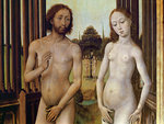 Adam and Eve expelled from the Garden of Eden after being tempted by the serpent to eat the apple, c.1460 (oil on panel) (detail of 488611) Fine Art Print by German School
