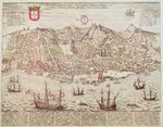 Panorama of Lisbon, 1572 (engraving) Wall Art & Canvas Prints by English School