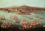 The fleet of King Charles III of Spain before the city of Naples, 6 October 1759 (oil on panel) Fine Art Print by Dominic Serres