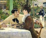 The Garden of Pere Lathuille, 1879 (oil on canvas) Postcards, Greetings Cards, Art Prints, Canvas, Framed Pictures, T-shirts & Wall Art by Edouard Manet