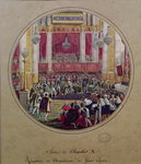 King Charles X (1757-1836) receiving the Knights of the Saint Esprit at Reims Cathedral on the 30th May, 1825 (w/c on paper) Postcards, Greetings Cards, Art Prints, Canvas, Framed Pictures, T-shirts & Wall Art by pseudonym for Onfray de Breville, Jacques Job