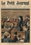 The end of a sensational trial, Marguerite Steinheil listening to the verdict, front cover illustration from 'Le Petit Journal', supplement illustre, 21st November 1909 (colour litho) Fine Art Print by English School