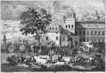 The Beaucaire Fair (engraving) (b/w photo) Fine Art Print by Henri Courvoisier-Voisin