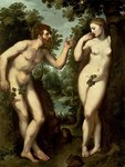 Adam and Eve, c.1599 (oil on panel) Wall Art & Canvas Prints by Hubert Eyck