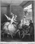 The Small Box, engraved by Charles Emmanuel Patas (1744-1802) c.1777 (engraving) (b/w photo) Fine Art Print by Jean Michel the Younger Moreau