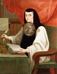Sister Juana Ines de la Cruz (1648-95) (oil on canvas) Fine Art Print by Antonio de Dominici