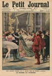 An odd tradition of the 1st January in the Parisian theatres, the 'Fireman Kiss', front cover illustration from 'Le Petit Journal', supplement illustre, 4th January 1914 (colour litho) Fine Art Print by Jean Raymond Hippolyte Lazerges