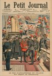 Edward VII, King of England, leaving Cherbourg, front cover illustration from 'Le Petit Journal', supplement illustre, 17th May 1903 (colour litho) Fine Art Print by Anonymous