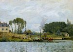 Boats at the lock at Bougival, 1873 Poster Art Print by Alfred Sisley