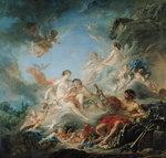The Forge of Vulcan, or Vulcan presenting arms for Aeneas to Venus, tapestry cartoon, 1757 (oil on canvas)