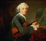 Young Man with a Violin, or Portrait of Charles Theodose Godefroy (1718-96) c.1738 (oil on canvas)