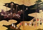 The Arrival of the Portuguese in Japan, detail of the left-hand section of a folding screen, Kano School (lacquer) Wall Art & Canvas Prints by Japanese School