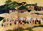 The Arrival of the Portuguese in Japan, detail of the right-hand section of a folding screen, Kano School (lacquer) Wall Art & Canvas Prints by Japanese School