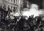 The Anarchist Riot in Chicago: A Dynamite Bomb Exploding Among the Police, from 'Harper's Weekly' (litho) (b/w photo) Postcards, Greetings Cards, Art Prints, Canvas, Framed Pictures, T-shirts & Wall Art by French School