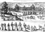 Arrival of Queen Elizabeth I at Nonesuch Palace and men and women from Tudor society, 1582 (engraving) Wall Art & Canvas Prints by Joris Hoefnagel