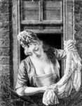 Woman wringing washing (b&w photo) Postcards, Greetings Cards, Art Prints, Canvas, Framed Pictures & Wall Art by Vilhelm Hammershoi