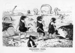Prehistoric Peeps, 'No Bathing Today', 1884 (pen and ink) (b/w photo) Wall Art & Canvas Prints by Filippo Lauri