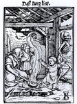 Death Taking a Child, from the 'Dance of Death' series, engraved by Hans Lutzelburger, c.1526-8 Fine Art Print by Hans Holbein The Younger